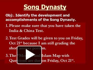 PPT – Song Dynasty PowerPoint presentation | free to view ...