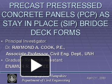 PPT – PRECAST PRESTRESSED CONCRETE PANELS (PCP) AS STAY IN PLACE