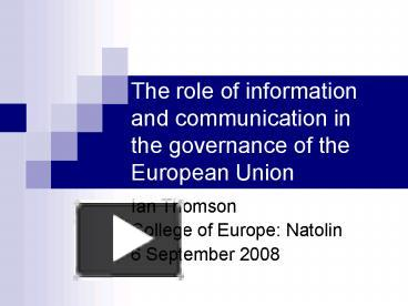 the role of information and communication