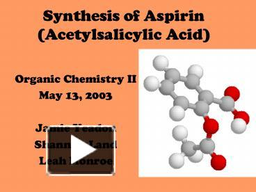 synthesis of aspirin 2 essay A most likely have in an essay of 2 pages (500 words) draw a mechanism for the synthesis of aspirin from a reaction between salicylic acid and acetyl chloride.