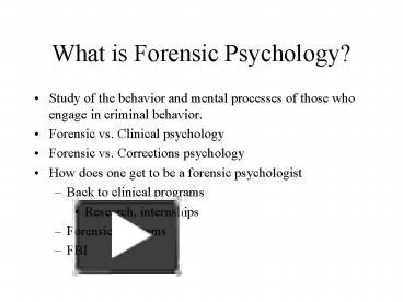 Ppt What Is Forensic Psychology Powerpoint Presentation Free To Download Id 42d98a Yjkzn