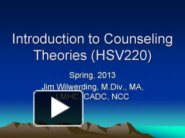 an introduction to the counselling theories