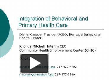 PPT - Integration of Behavioral and Primary Health Care ...