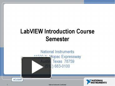 Labview tutorial ppt