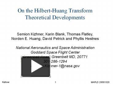 PPT – On the Hilbert-Huang Transform Theoretical Developments