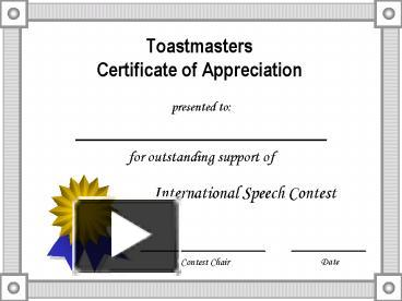 ppt toastmasters certificate of appreciation powerpoint presentation free to download id 449718 yzyym