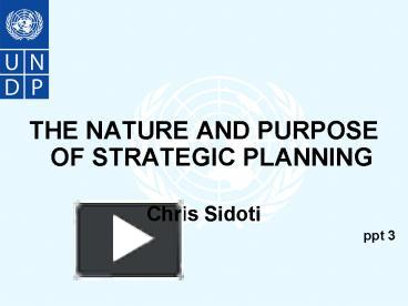 nature and purpose of planning