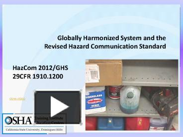 PPT – Globally Harmonized System and the Revised Hazard