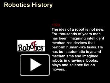 PPT – Robotics History PowerPoint presentation | free to