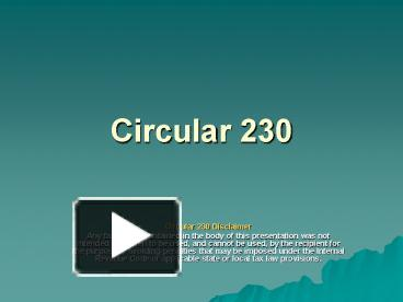 circular 230 lecture notes 1 Chapter 26 tax administration 17 circular 230 new incorporated into the 2005 comprehensive volume of the instructor's guide with lecture notes to.