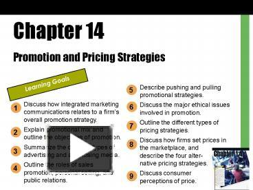 PPT – Promotion and Pricing Strategies PowerPoint