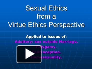Marriage sexual ethics