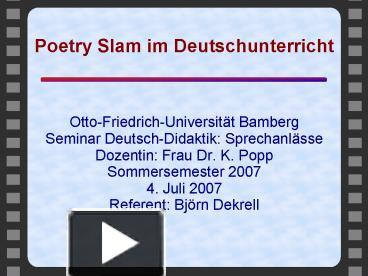 PPT – Poetry Slam im Deutschunterricht PowerPoint presentation ...