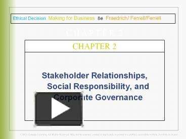 PPT – Stakeholder Relationships, Social Responsibility, and