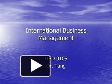 business management 105
