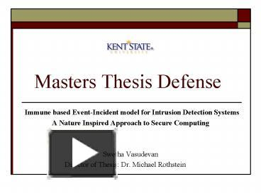 A Guide for Graduate Students Preparing for a Master s Thesis
