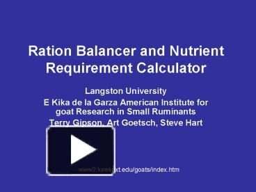 PPT – Ration Balancer and Nutrient Requirement Calculator