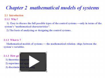 PPT – Chapter 2 mathematical models of systems PowerPoint