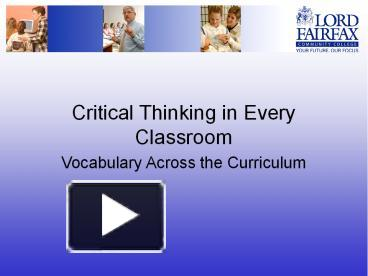 critical thinking in the classroom ppt