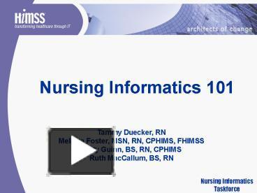 Ppt Nursing Informatics 101 Powerpoint Presentation Free
