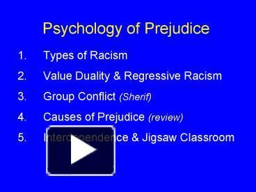 psychologists prejudice essay