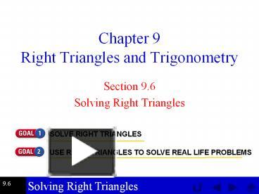 PPT – Chapter 9 Right Triangles and Trigonometry PowerPoint
