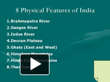 PPT – 8 Physical Features of India PowerPoint presentation