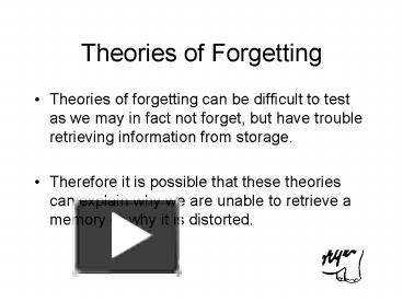 theories of forgetting Decay theory of forgetting  theories of forgetting - theories of forgetting theories of forgetting can be difficult to test as we may in fact not forget,.
