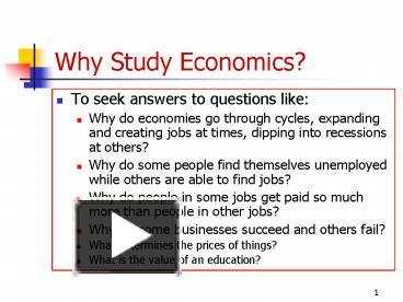 why do we study economy