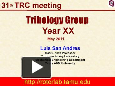 PPT – Tribology Group PowerPoint presentation | free to