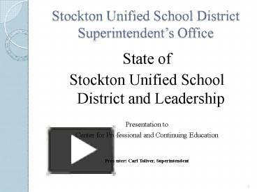 Ppt Stockton Unified School District Superintendent Powerpoint