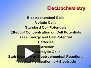 PPT – Electrochemistry PowerPoint presentation | free to