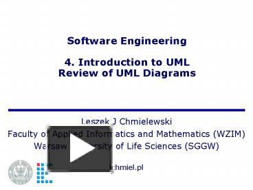 Ppt Software Engineering 4 Introduction To Uml Review Of Uml