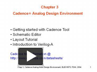 PPT – Getting started with Cadence Tool PowerPoint presentation