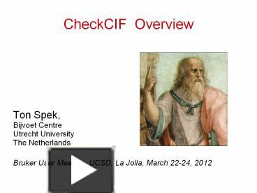 Ppt checkcif overview powerpoint presentation free to download ppt checkcif overview powerpoint presentation free to download id 58ede7 zjuzy toneelgroepblik Gallery