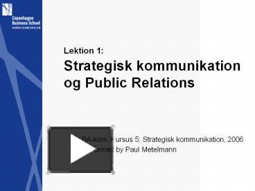 relation og kommunikation