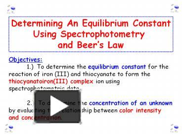 PPT – Determining An Equilibrium Constant PowerPoint