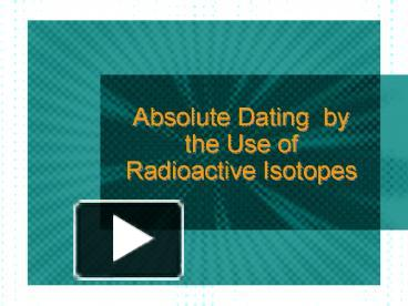relative and absolute dating examples