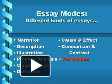 ppt essay modes different kinds of essays powerpoint ppt essay modes different kinds of essays powerpoint presentation to view id 59313 zdc1z