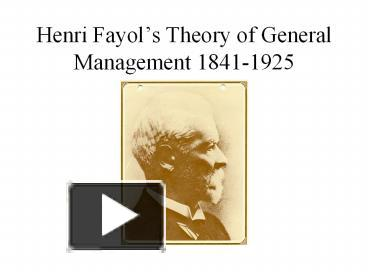 henri fayol personal background Read this article to learn about fayol's principles of management background and history of fayol: henry fayol was born in france in 1841 he got degree in mining engineering in 1860 and started working as engineer in a coal mining company in 1888 he was promoted as the managing director of the.