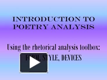 an introduction to the analysis of poetry