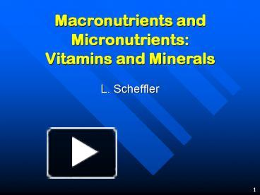 micronutrients and fast food powerpoint presentation