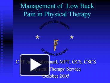 Experience Lower Back Pain
