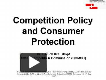consumer protection and competition policy