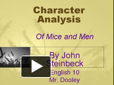 character analysis in of mice and