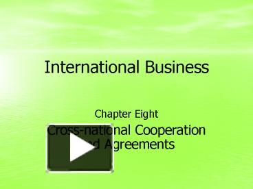cross national cooperation and agreements