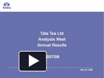 tata tea analysis