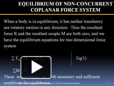 PPT – EQUILIBRIUM OF NON-CONCURRENT COPLANAR FORCE SYSTEM