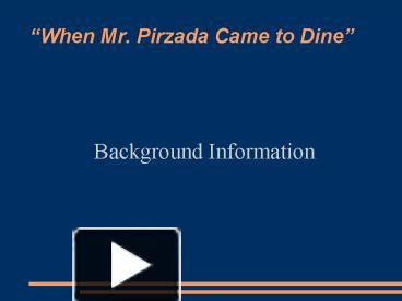 when mr pirzada came to dine
