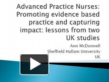 advanced practice nurse and united kingdom